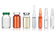 Set of different medical ampoules on white background stock images