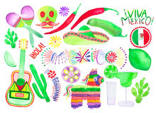 Set of different Mexican symbols.  Hand-drawn elements. Stock Photo