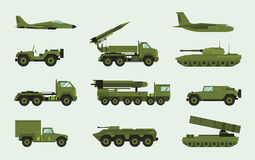 Set of different military transport. Modern equipment collection fighting machine, air defense, car, truck, tank. Armored vehicles, artillery pieces. Vector Stock Images