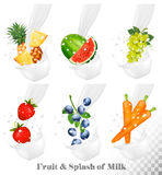 Set of different milk splashes with fruit, Stock Photography