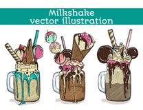 Set of different milkshakes. Chocolate, strawberry, vanilla and candy milkshakes. Vector cartoon illustration Stock Photo
