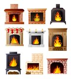 Set of different model of fireplace at room house or apartment vector illustration
