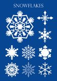 Set of different models of snowflakes on blue background. Vector image Royalty Free Stock Images
