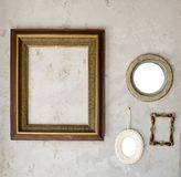 Set of different modern and ancient mirrors and photo frame. Royalty Free Stock Photos