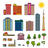 Set of different modern buildings Stock Images
