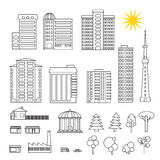 Set of different modern buildings. Set of different linear modern buildings Stock Photo