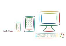 Set of Different Modern Tech Devices Colorful Line Art. Editable Clip Art. vector illustration
