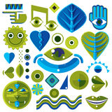 Set of different modernistic vector symbols can be used in corpo. Rate and web design. Conceptual icons collection created in nature and music theme, body and Stock Photos
