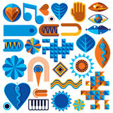Set of different modernistic vector symbols can be used in corpo Stock Images