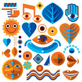 Set of different modernistic vector symbols can be used in corpo. Rate and web design. Conceptual icons collection created in nature and music theme, body and Stock Image