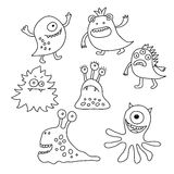 Set of different monsters painted black outline Royalty Free Stock Photos