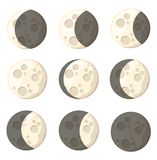 Set of different moon phases space object natural satellite of the earth vector illustration isolated on white background web site. Page and mobile app design stock photography