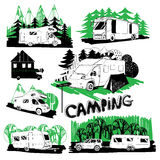 Set of different motorhomes and points camping. Vector set of different motorhomes and points camping with forest background. Logo grathic design Royalty Free Stock Photography