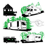 Set of different motorhomes and points camping. Vector set of different motorhomes and points camping Logo design Stock Images