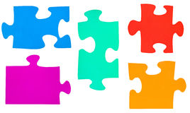 Set of different multicolored puzzle pieces Stock Images