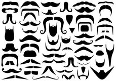 Set Of Different Mustaches. Isolated on white stock illustration