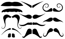Set of different mustaches. Isolated on white Stock Photography