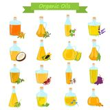 Set of different natural oils bottles color flat icons. Set of different natural oils bottles color icons Royalty Free Stock Photography