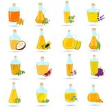 Set of different natural oils bottles color flat icons. Set of different natural oils bottles color icons Royalty Free Stock Images