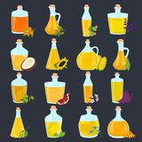 Set of different natural oils bottles color flat icons. Set of different natural oils bottles icons Stock Images