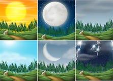 Set of different nature scenes. Illustration vector illustration