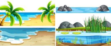 Set of different nature scenes. Illustration royalty free illustration