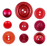 Set of different, new and old red buttons on a white background Stock Image