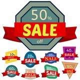 Set of different nine discount stickers Royalty Free Stock Photo