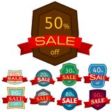 Set of different nine discount stickers Royalty Free Stock Photography