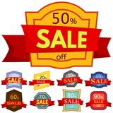 Set of different nine discount stickers. Colorful badges with red ribbon for sale 10 - 90 percent off. Vector illustration Royalty Free Stock Photography