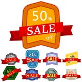 Set of different nine discount stickers Stock Images