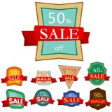 Set of different nine discount stickers Royalty Free Stock Photos