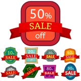 Set of different nine discount stickers. Colorful badges with red ribbon for sale 10 - 90 percent off. Vector illustration Stock Photo