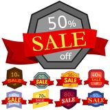 Set of different nine discount stickers. Colorful badges with red ribbon for sale 10 - 90 percent off. Vector illustration Stock Photos
