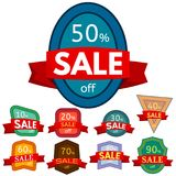 Set of different nine discount stickers. Colorful badges with red ribbon for sale 10 - 90 percent off. Vector illustration Royalty Free Stock Photos