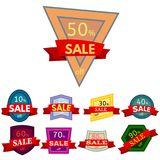 Set of different nine discount stickers. Royalty Free Stock Images