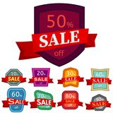 Set of different nine discount stickers. Colorful badges with red ribbon for sale 10 - 90 percent off. Vector illustration Royalty Free Stock Photo