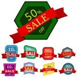 Set of different nine discount stickers. Colorful badges with red ribbon for sale 10 - 90 percent off. Vector illustration Royalty Free Stock Images