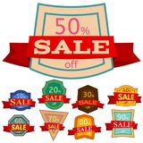 Set of different nine discount stickers Stock Photography
