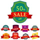 Set of different nine discount stickers. Stock Photo