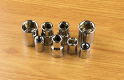Set of different nozzle to tighten the bolts Stock Photo