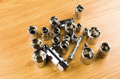 Set of different nozzle to tighten the bolts Royalty Free Stock Photo