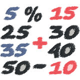 Set of different numbers of discounts. Pencil scribble Royalty Free Stock Images