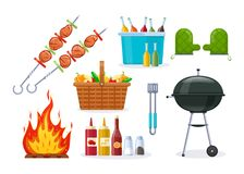 Set of different objects for modern barbecue party. Set of objects for barbecue party. Mangal with barbecue, cutlery, grill meat, vegetables, coals, fire Stock Photos
