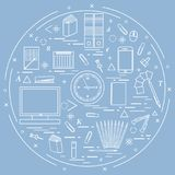 Set of different office objects arranged in a circle. Including. Icons of paper clips, buttons, pencils, glue, monitor, clock and other on white background stock illustration