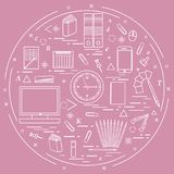 Set of different office objects arranged in a circle. Including. Icons of paper clips, buttons, pencils, glue, monitor, clock and other on white background vector illustration