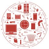 Set of different office objects arranged in a circle. Including. Icons of paper clips, buttons, pencils, glue, monitor, clock and other on white background royalty free illustration