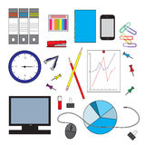 Set of different office objects Stock Photography