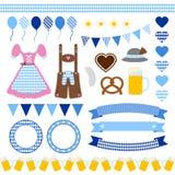Set Of Different Oktoberfest Icons Diamond Pattern royalty free illustration