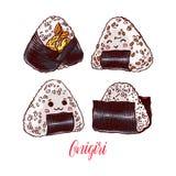 Set of different onigiri Stock Image